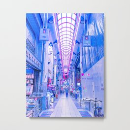 Osaka Electric Blue Metal Print