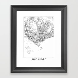 Singapore White Map Framed Art Print