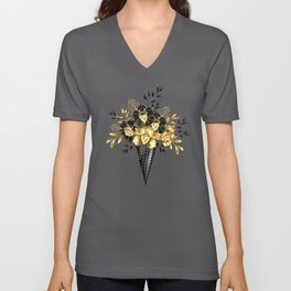 Waffle Cone with Black Golden Orchids Unisex V-Neck