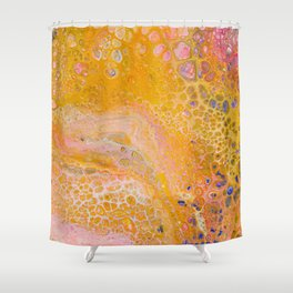 Abstract painting with warm colors, yellow, orange and pink Shower Curtain