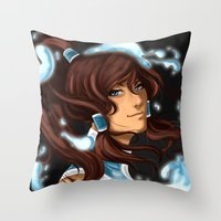 the legend of korra Throw Pillows featuring Korra by BubbleJuiceBox
