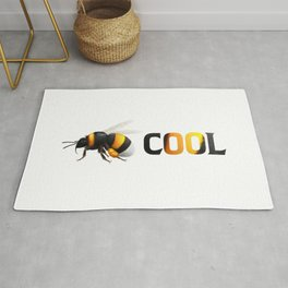 Be cool - Bee awesome - realistic bee drawing Rug