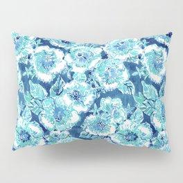 HIBISCUS BOUNTY Blue Tropical Watercolor Pillow Sham