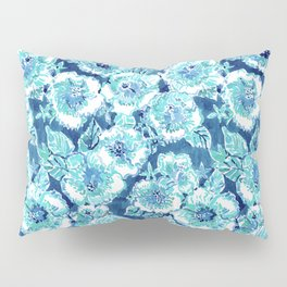 HIBISCUS BOUNTY Blue Tropical Watercolor Pillow Sham