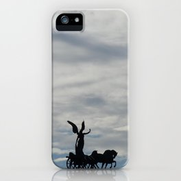Roman angel and chariot at sunset iPhone Case
