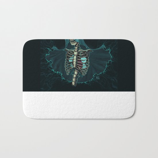 Skeleton with veil and white roses Bath Mat