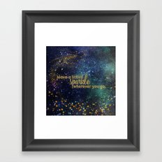 Leave a little sparkle wherever you go - gold glitter Typography on dark space backround Framed Art Print