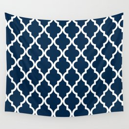 Moroccan Quatrefoil Pattern: Navy Blue Wall Tapestry
