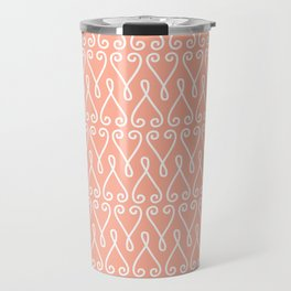 White Ornamental Designs on Pink Background Travel Mug