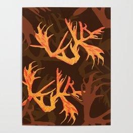 Horns Autumn Pattern Poster