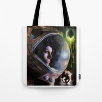 ripley Tote Bags featuring alien ripley painting by John Mungiello