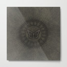 Old Bronze Butterfly Medallion Design Metal Print