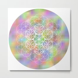 THE FLOWER OF LIFE - ON MOTTLED BACKGROUND Metal Print