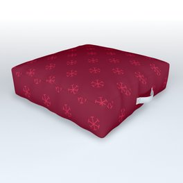 Crimson Red on Burgundy Red Snowflakes Outdoor Floor Cushion