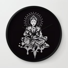 Buddha in lotus position Wall Clock