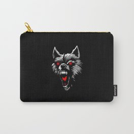 Angry wolf head red eyes Carry-All Pouch