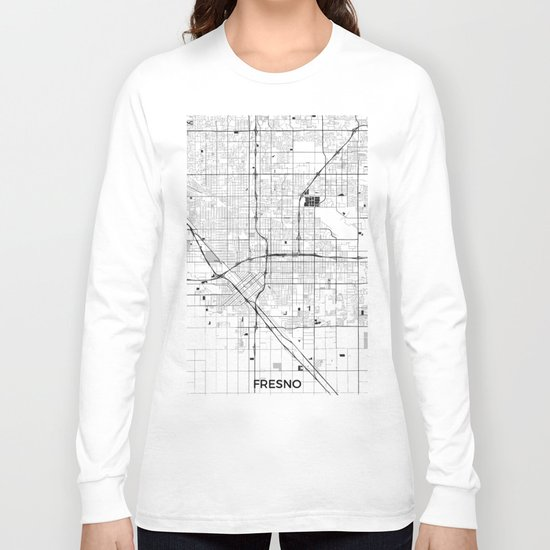 Fresno Map Gray Long Sleeve T-shirt