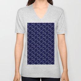 Sea Waves - white on darkblue pattern - Martitime Design Unisex V-Neck