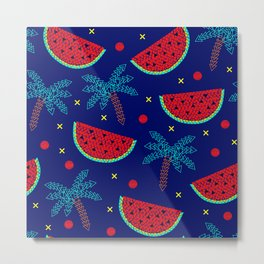 Tropical mosaic design on blue Metal Print