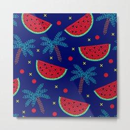 Tropical mosaic design on blue Metal Print