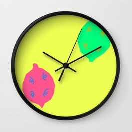 Words from Colorful Lemons - fruit illustration bright colors Wall Clock