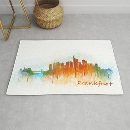 Frankfurt am Main, City Cityscape Skyline watercolor art v3 Rug