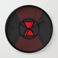 black widow Wall Clocks featuring Black Widow by Some_Designs