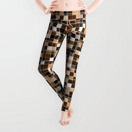 Beige, white, black, brown mosaic. Leggings