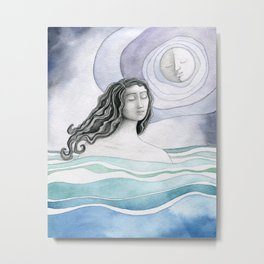 Swimming with the Moon Metal Print