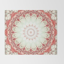 Autumn's Splendor Mandala -- Russet Red Leaves on Pale Mint Throw Blanket