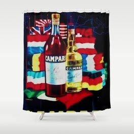 1959 Vintage Bitter Campari Aperitif World Flags Advertisement Poster Shower Curtain