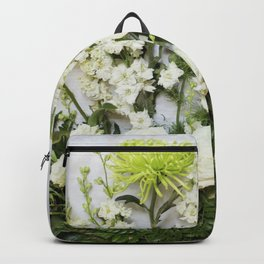 Green and Cream Flowers Backpack