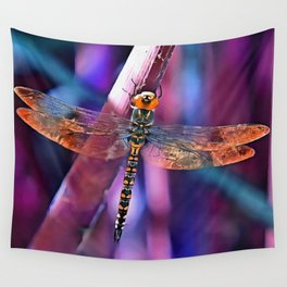 Dragonfly In Orange and Blue Wall Tapestry