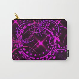 Metallic stars and rings in lilac shades on night sky background. Carry-All Pouch