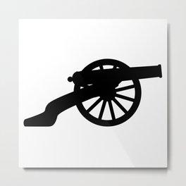 American Civil War Cannon Silhouette Metal Print