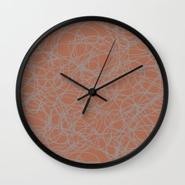 Slate Violet Gray SW9155 Thick Hand Drawn Scribble Mosaic Pattern on Cavern Clay SW 7701 Wall Clock