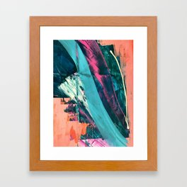 Wild [7]: a bold, colorful abstract mixed-media piece in teal, orange, neon blue, pink and white Framed Art Print