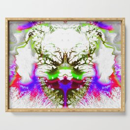 Fluid neon multicolor digital oil painting  modern art for home decoration Serving Tray