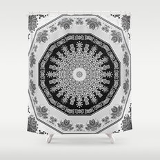Shades of Grey - Geometric Floral Pattern Shower Curtain