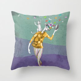 the imaginative robot clown and his cat friend Throw Pillow