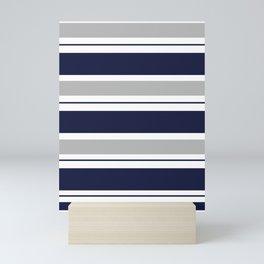 Navy Blue and Grey Stripe Mini Art Print