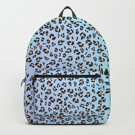 Leopard Pattern Lilac x Mint Blue Ombre Print Backpack