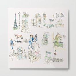 Sketches from Paris 02 Metal Print