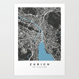 Zurich - Switzerland | Black & Blue Color Art Print