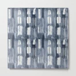 Simply Shibori Lines in Indigo Blue on Lunar Gray Metal Print