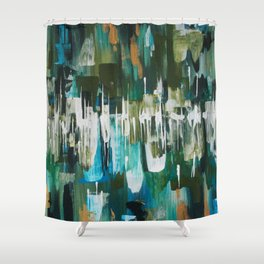 Acrylic Blue, Green and Gold Abstract Painting Shower Curtain