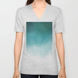 Modern blue greenery watercolor ombre wash Unisex V-Neck