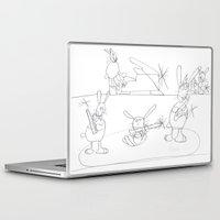 rabbits Laptop & iPad Skins featuring Musical Rabbits by Ryan van Gogh