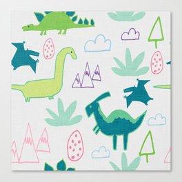 Dino Fun land Grey Canvas Print