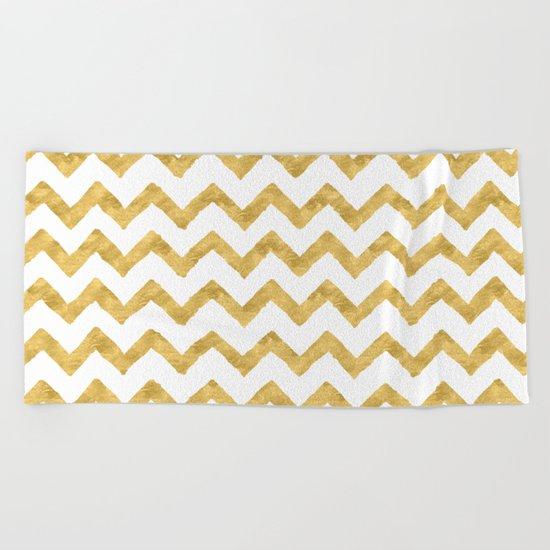 Chevron Gold And White Beach Towel